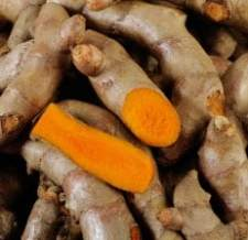 Turmeric root sliced open