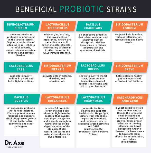 Beneficial Probiotic Strains Chart
