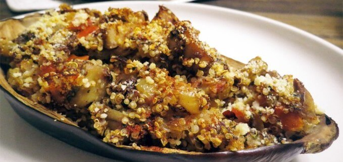 Quinoa and Veggie Stuffed Eggplant