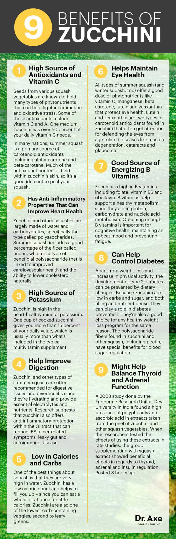 Zucchini benefits infographic - Dr. Axe