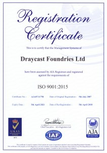ISO 9001:2015 Approved Foundry - Draycast UK
