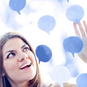 Image of woman looking at thought bubbles