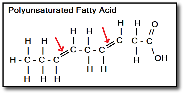 best cooking oils - Polyunsaturated Fatty Acid with Arrows