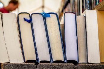 Second hand hardcover books for sale in a book market
