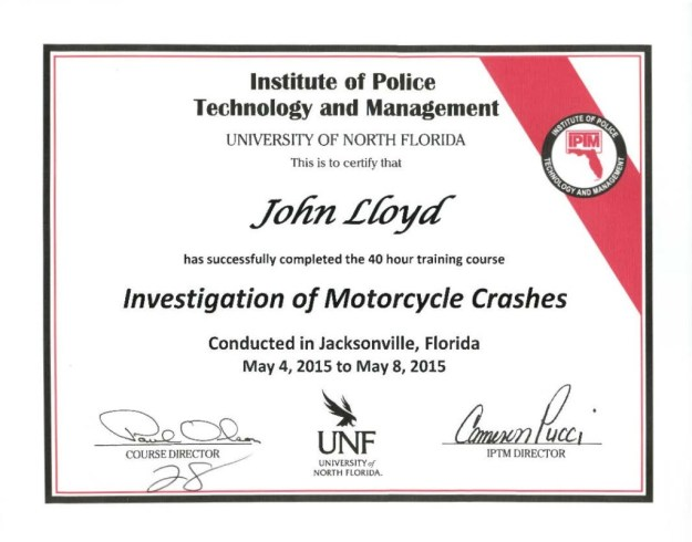 Dr. John Lloyd - Certified in Motorcycle Crash Investigation