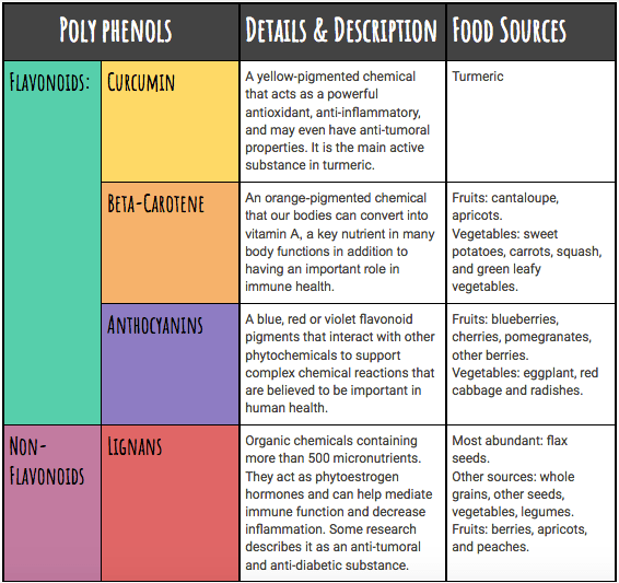 The types of polyphenols you might find in your diet and their effects.