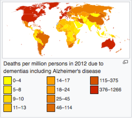 Map of Alzheimers Disease related deaths