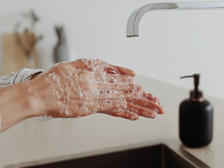 Hand-washing destroys viral molecules.