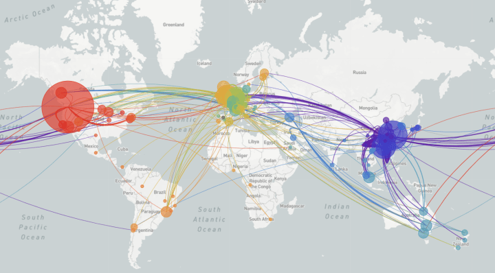 This is a real-time COVID-19 tracker from NextStrain.org that shows the transmission of COVID-19 from country-to-country.