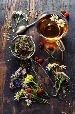flowers and tea to exemplify plant-based foods
