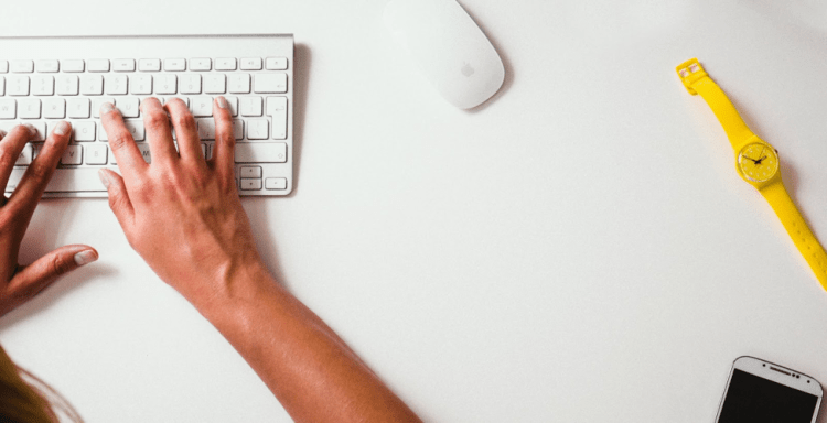 typing on a keyboard engaging in digital health