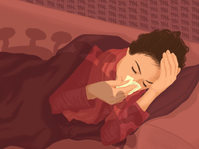 Woman lying on sofa with tissue and headace under the shadow of a SARS-CoV-2 virus and with hashmarks on the wall behind here showing how long she's been ill