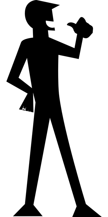 silhouette of person standing with arm cocked and thumb pointing back to himself