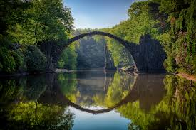 stone arch bridge reflected in water creating circle