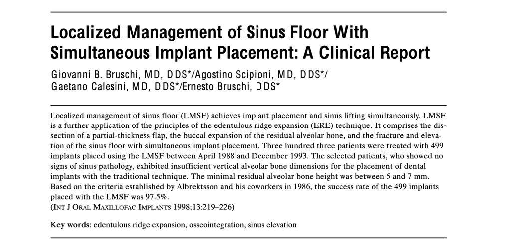 Localized Management of Sinus Floor with Simultaneous Implant Placement
