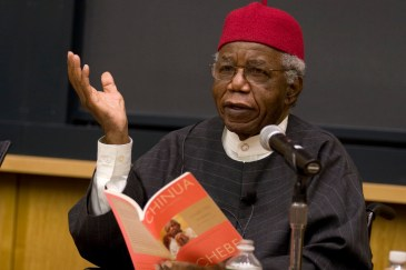 (Cambridge, MA - November 17, 2008) Novelist Chinua Achebe reads some of his poetry Monday Afternoon for a packed Tsai Auditorium as the guest speaker for this year's Distinguished African Studies Lecture. Staff Photo Nick Welles/Harvard News Office