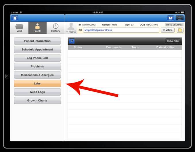 send and receive lab orders on drchrono electronic medical records iPad app