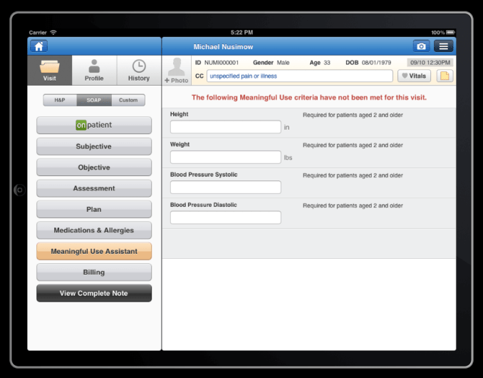 meaningful use assistant on drchrono ehr iPad app