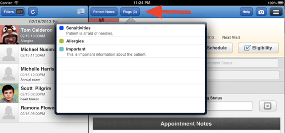 ipad 3 location of flags button with quantity indicator in drchrono ehr software