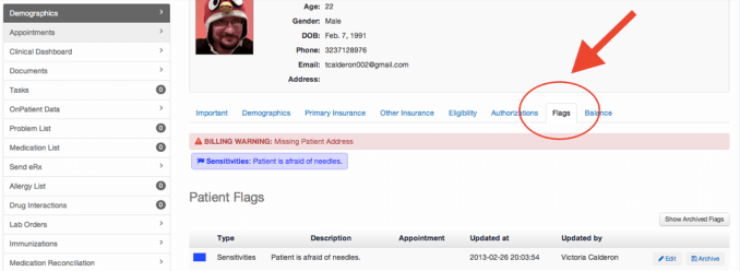 Patient flags tab location on patient screen drchrono ehr software