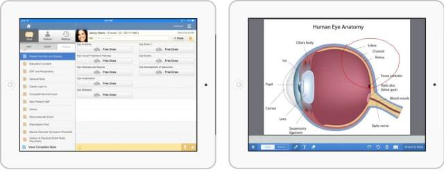 patient education screens in drchrono iPad EHR for optometrists and ophthalmologists