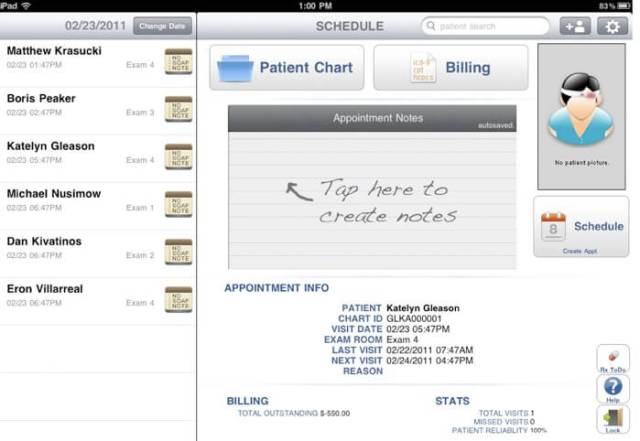 drchrono electronic health records ipad app patient screen