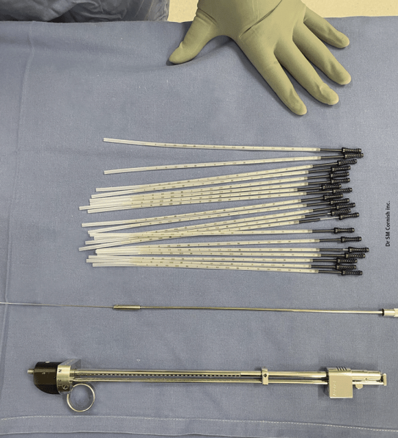 Image displaying instruments used to implant brachytherapy seeds