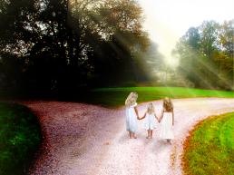 girls on path