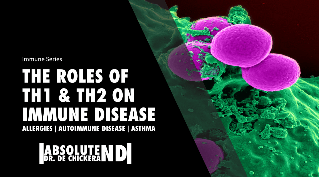 blog cover page with background image of cells under a microscope with fore ground having title of the post: the roles of Th1 and Th2 on immune disease.