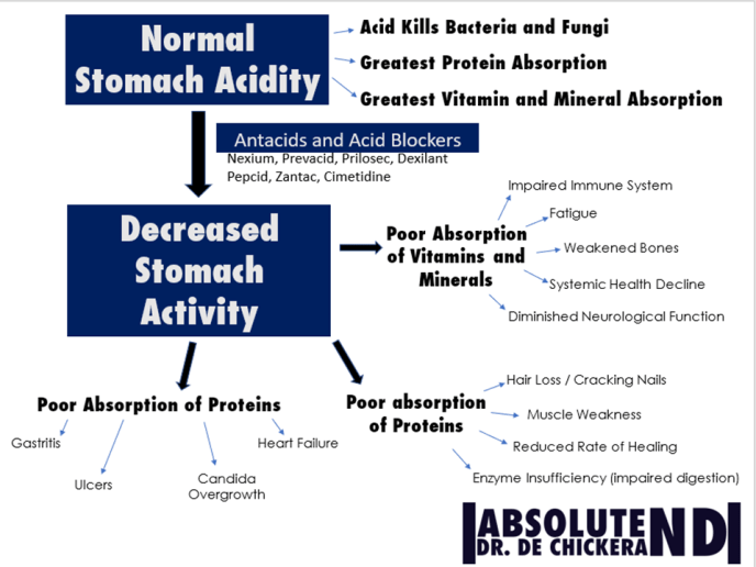 diagram showing importance of stomach acid and dangers of acid blocking medications