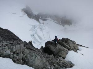 Glimpse of upper Wedgemount Glacier (Renee's photo)