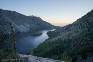 Hazy dawn on Lake Sabrina