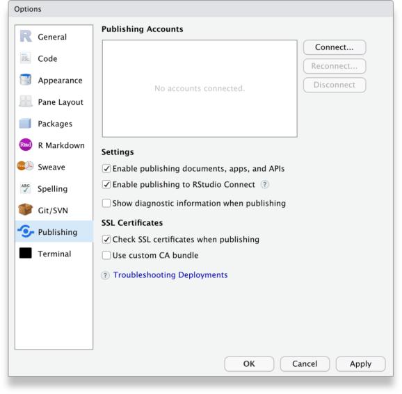 RStudio Tools, Global options, Publishing tab