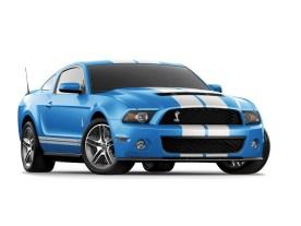 Ford Mustang in Grabber Blue und den traditionellen weißen Rallye-Streifen