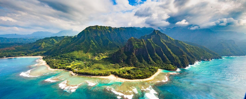 Na Pali Coast, Kauai, Hawaii Volcano and beach