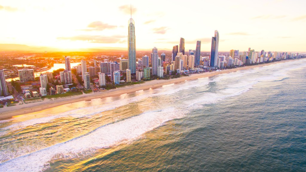Surfers Paradise skyline at sunset from an aerial view