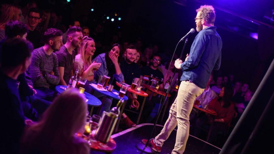 Stand up comedy at a comedy club in Edinburgh