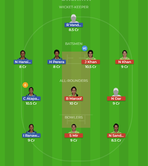 SL-W vs PK-W 2nd ODI Match Dream11 Team