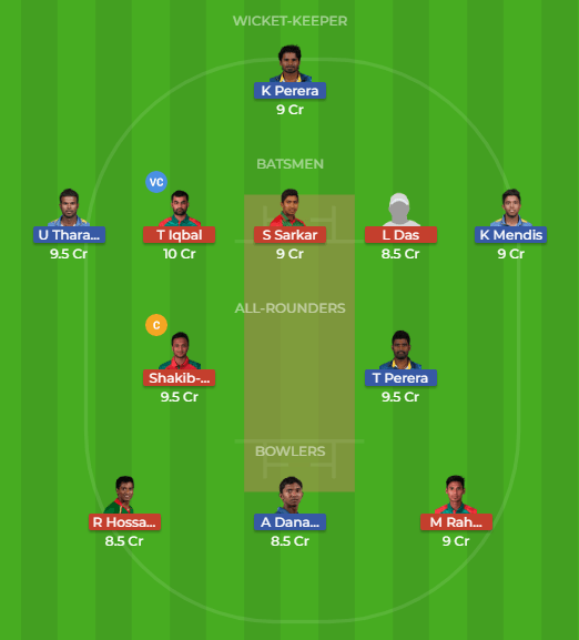 SL vs BAN 6th Match Dream11 Team