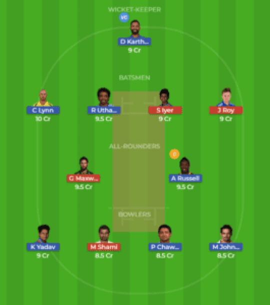 KOL vs DEL 13th Match Dream11 Team