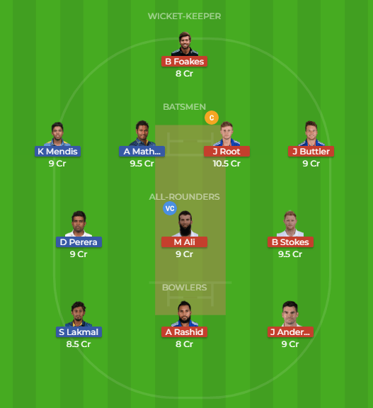 SL vs ENG Dream11