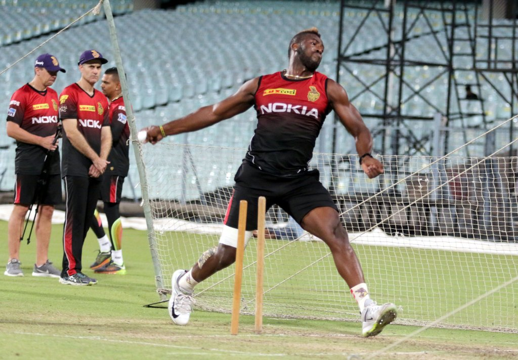 Andre Rusell practices ahead of the game of against Mumbai.