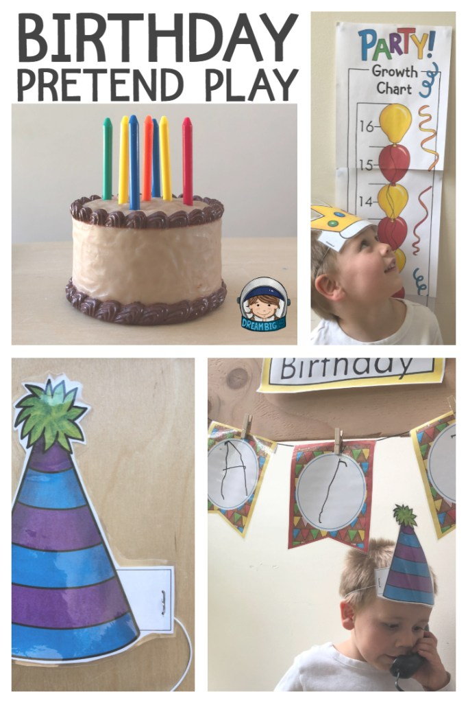 Toy Birthday Cake With Candles Party Growth Chart Pretend Hat And Themed
