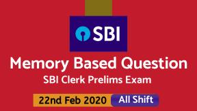 Memory Based Questions Asked in SBI Clerk 2020