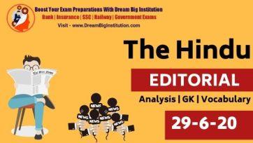 The Hindu Editorial Vocabulary 29 June 2020