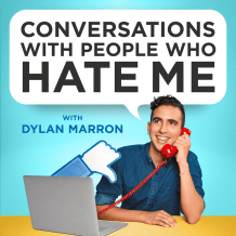 The logo for the podcast recommendation, Conversations with People Who Hate Me.  The title in a speech bubble of host, Dylan Marron's head.  He is sitting at a desk in front of a computer holding a red telephone.