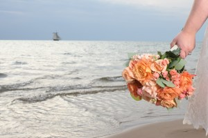 Bouquet with sail boat in background