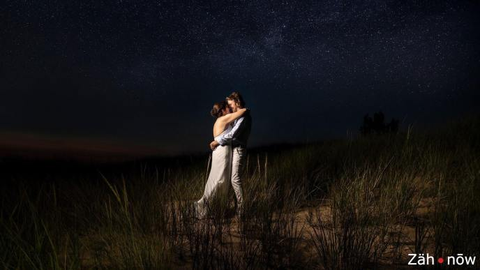 Beach wedding under the stars