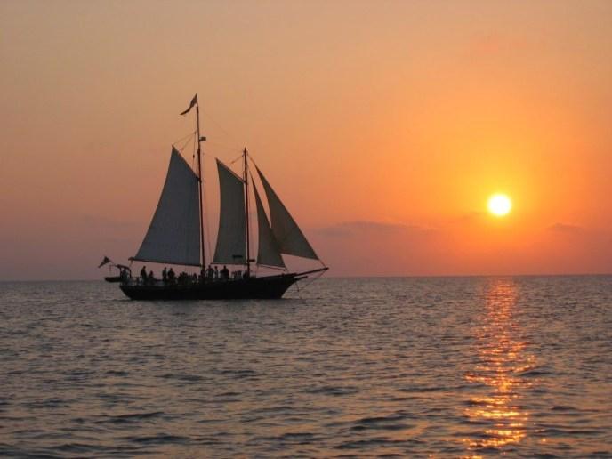 Schooner Serenity in Saugatuck on a sunset cruise