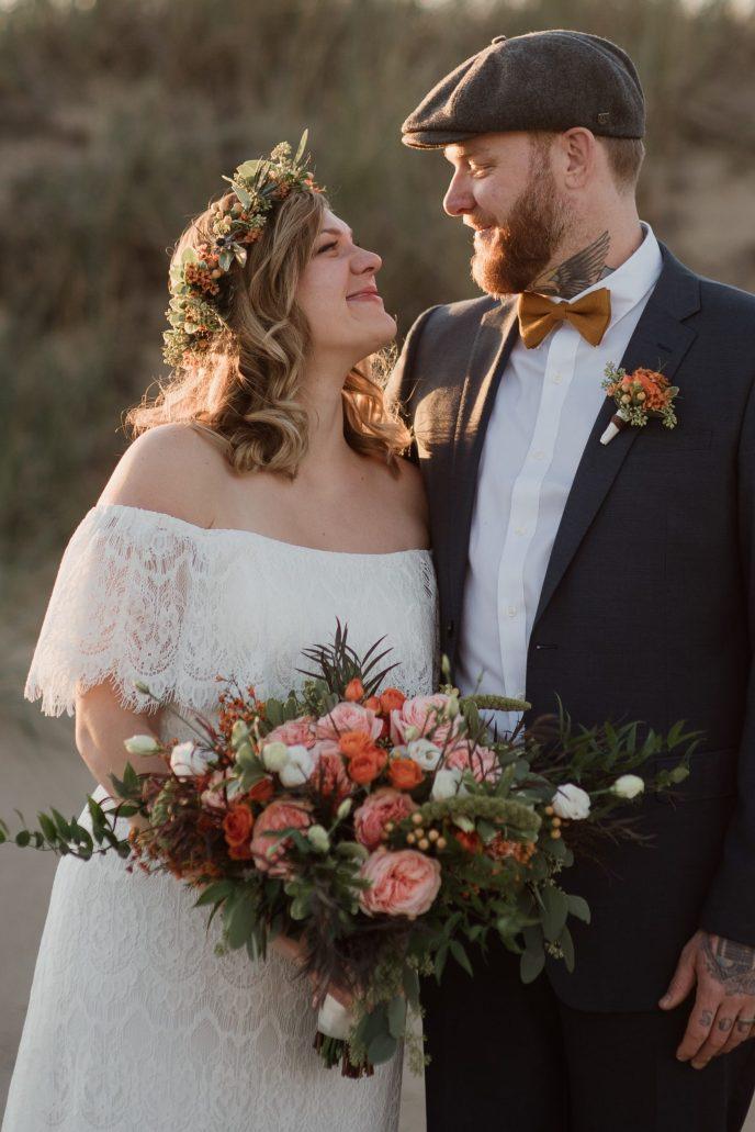 bride & groom get married in Saugatuck on beach, micro wedding package
